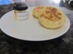 Buttered crumpets with honey - yum!