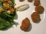 Golden brown carrot falafel